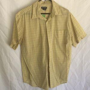 Yellow plaid short sleeve button down